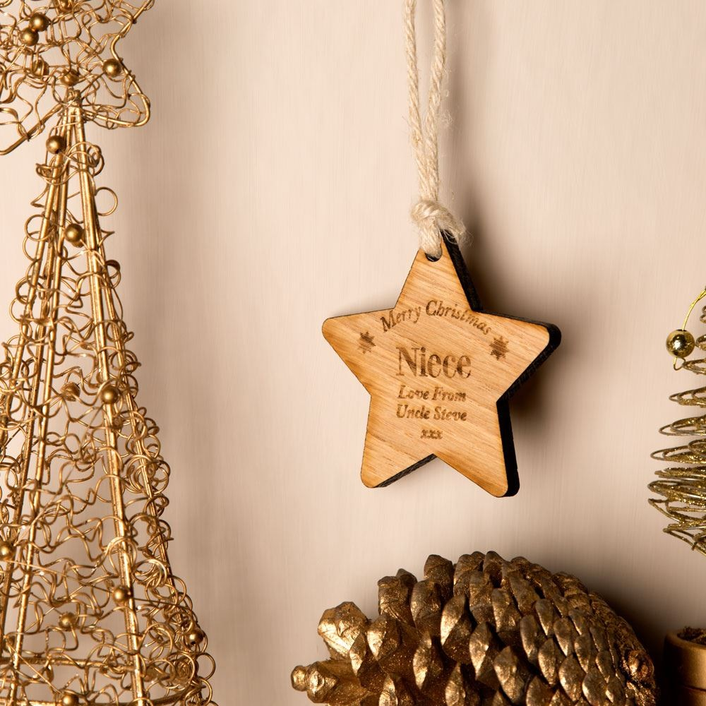 Personalised Wooden Christmas Bauble: Niece