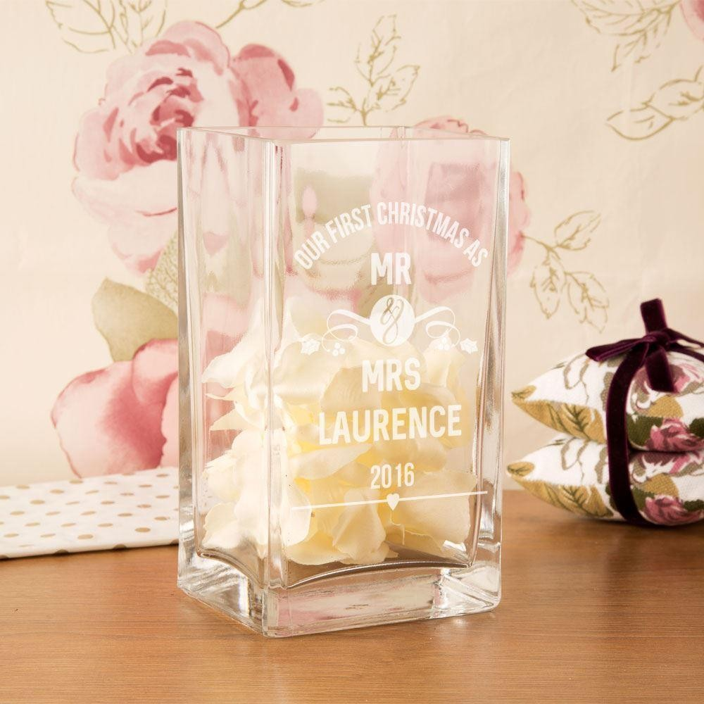 Personalised First Christmas as Mr & Mrs Glass Vase