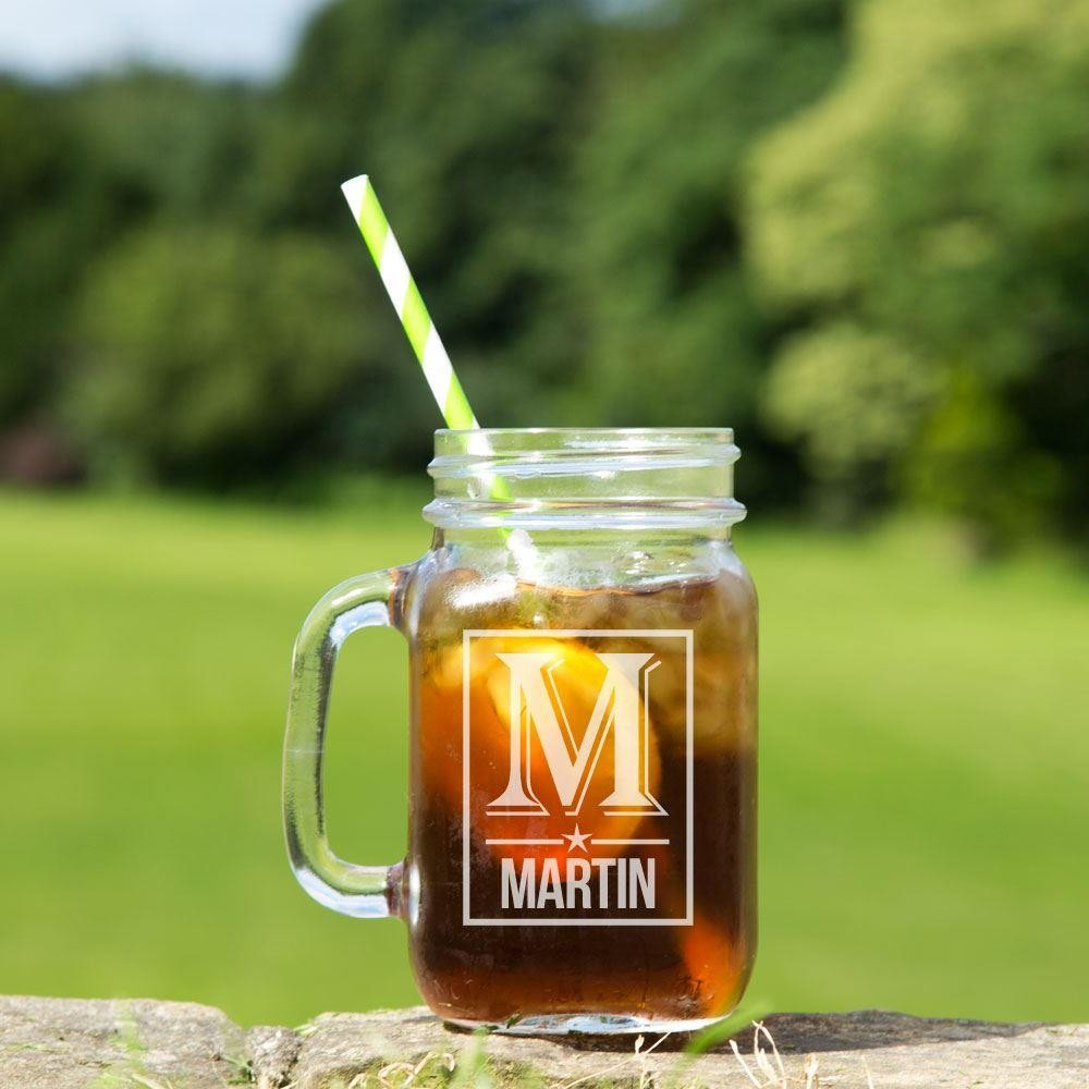 Personalised Male Initial Glass Mason Jar