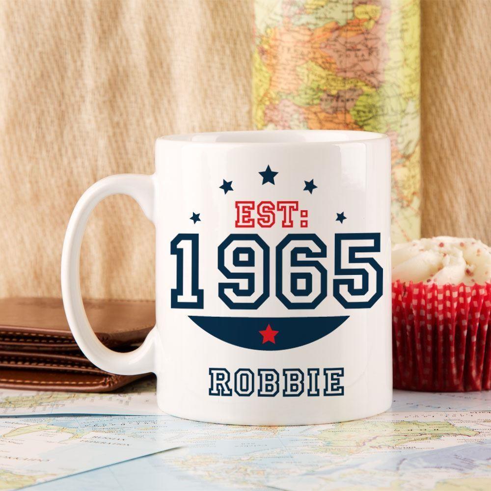 Personalised 50th Birthday Est Mug For Him