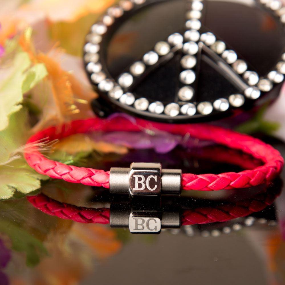 Personalised Girls Neon Pink Bracelet