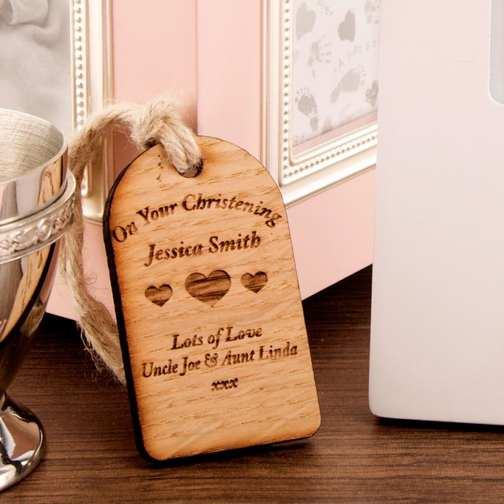 Christening Wooden Tag: Heart Design