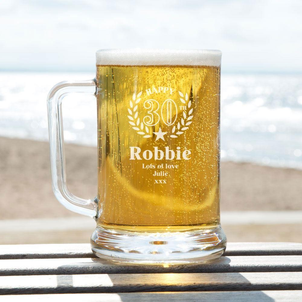 Bespoke Engraved 30th Wreath Glass Pint Tankard: Special Offer