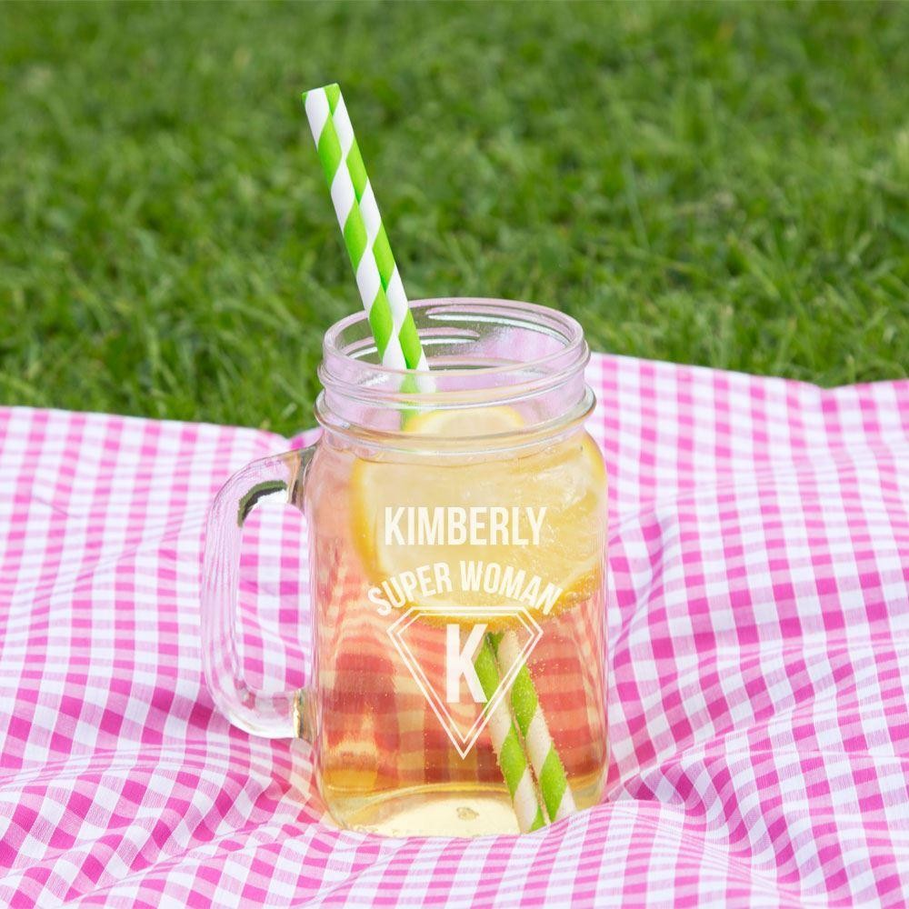 Superwoman Personalised Glass Mason Jar