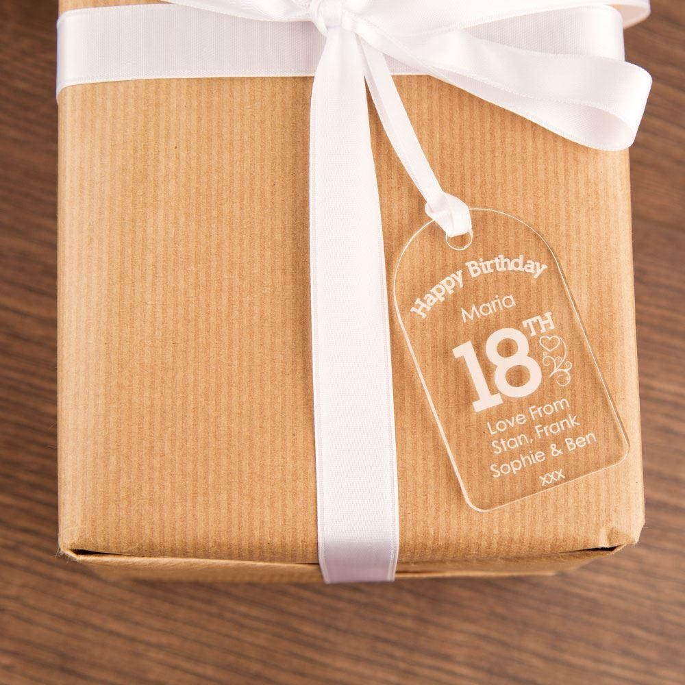 Engraved 18th Birthday Gift Tag: Hearts