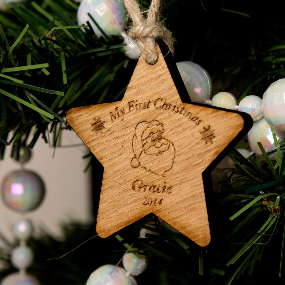 My 1st Christmas Wooden Star: Santa