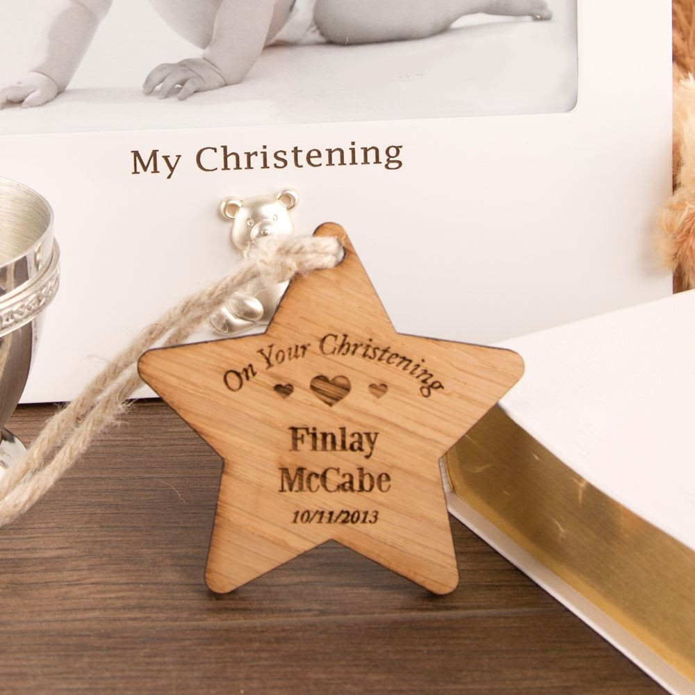 Christening Wooden Star: Heart Design