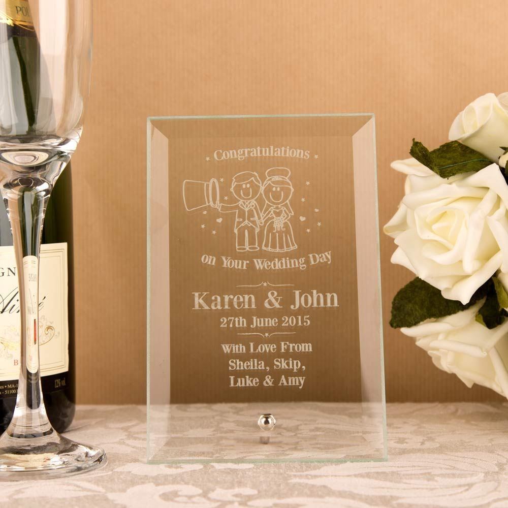 Bride & Groom Glass Plaque