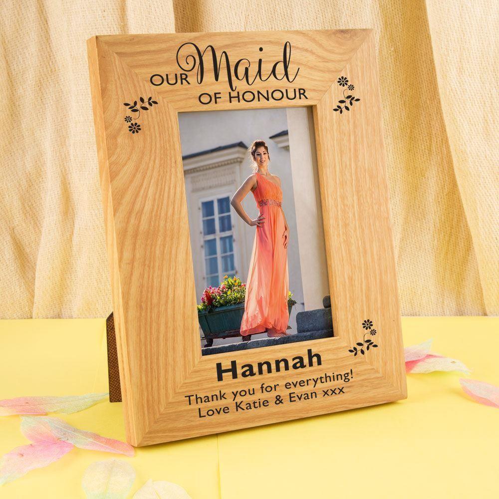 Personalised Maid of Honour Oak Frame