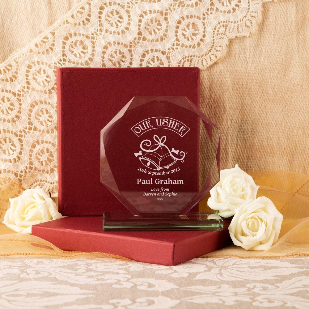 Personalised Usher Cut Glass Presentation Gift