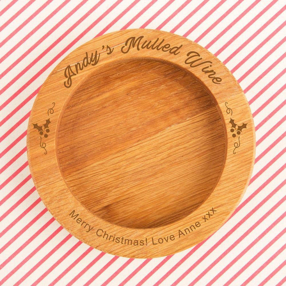 Mulled Wine Customised Festive Wooden Bottle Coaster