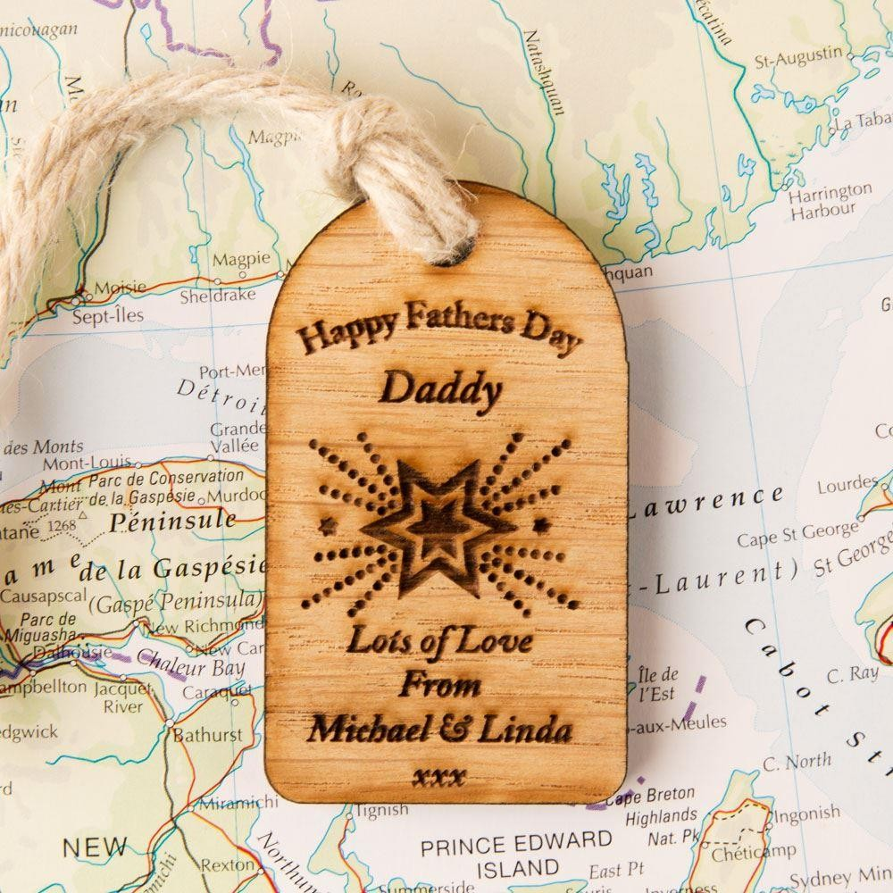 Personalised Fathers Day Wooden Gift Tag
