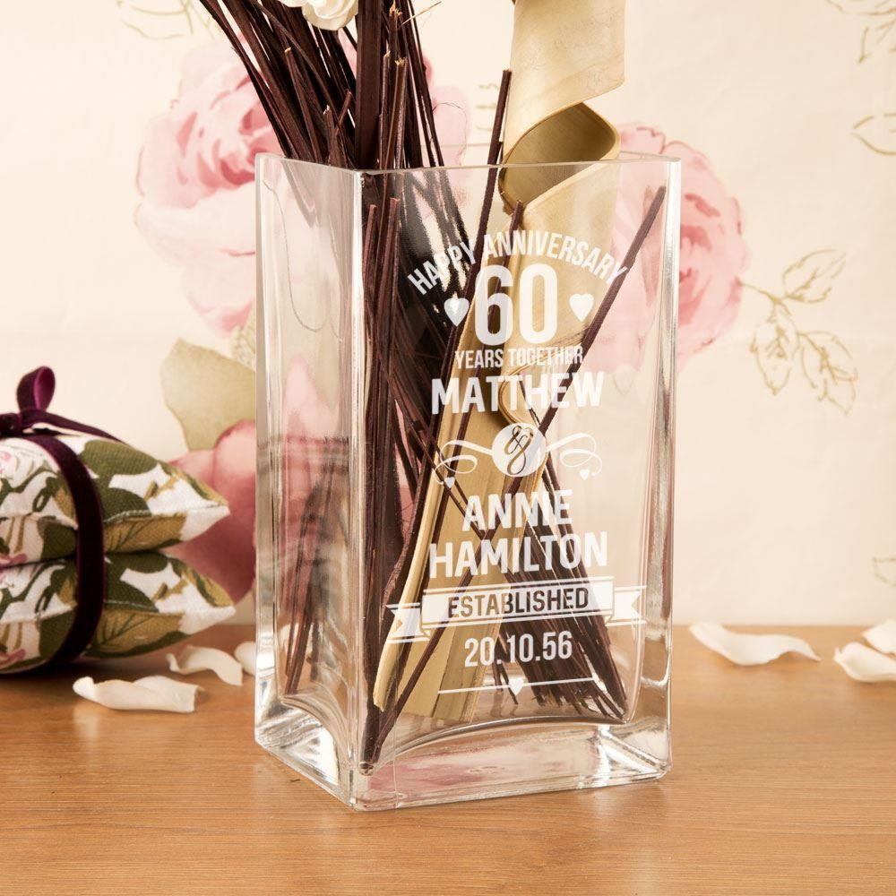 Customised 60th Wedding Anniversary Engraved Glass Vase