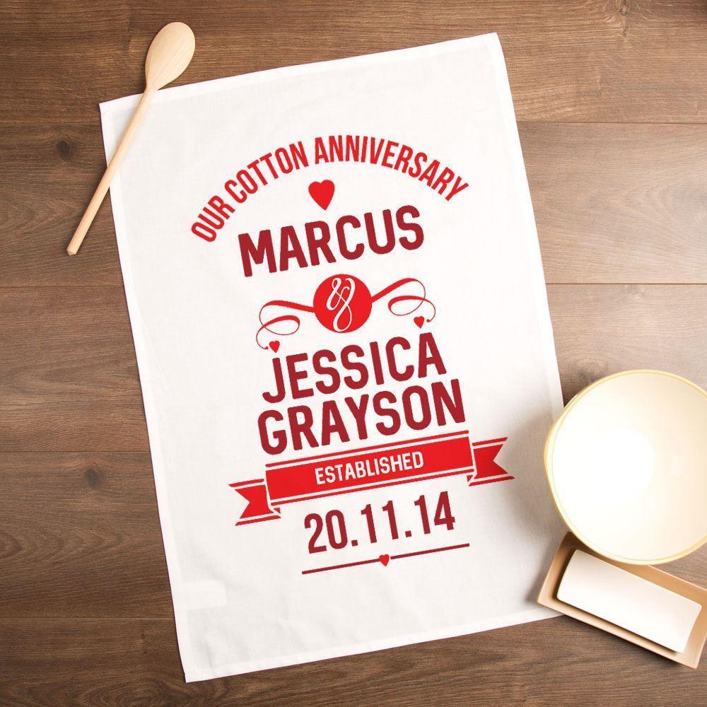 Personalised Cotton Wedding Anniversary Tea Towel