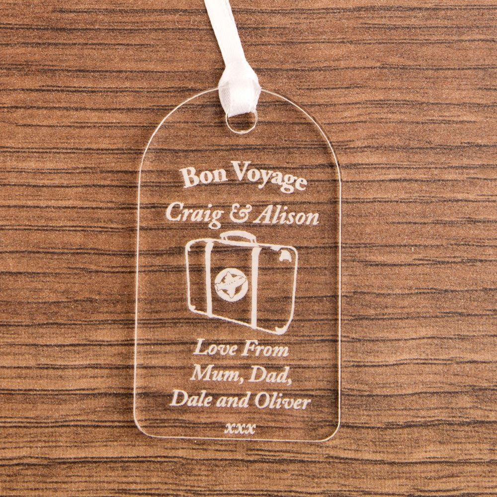 Personalised Bon Voyage Acrylic Gift Tag Forever Bespoke