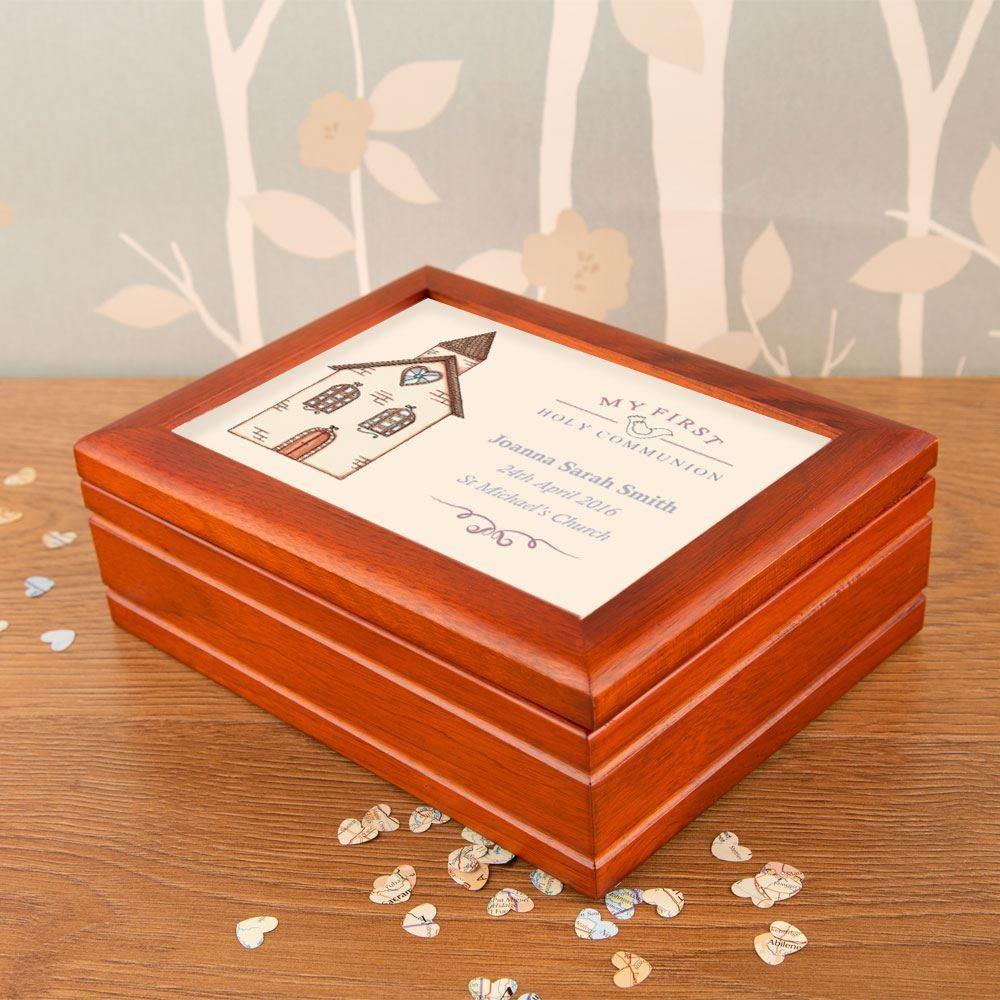 Bespoke Communion Musical Jewellery Box: Church
