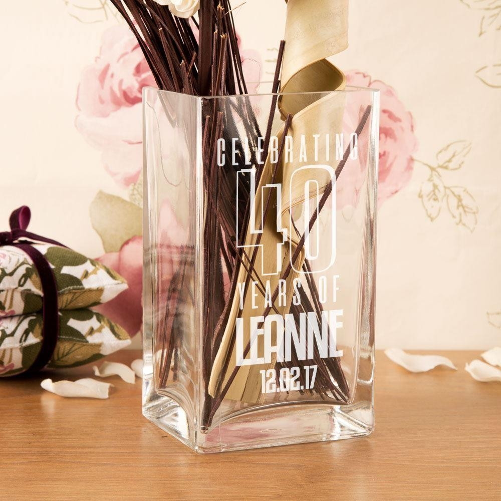 Personalised 40th Birthday Engraved Glass Vase