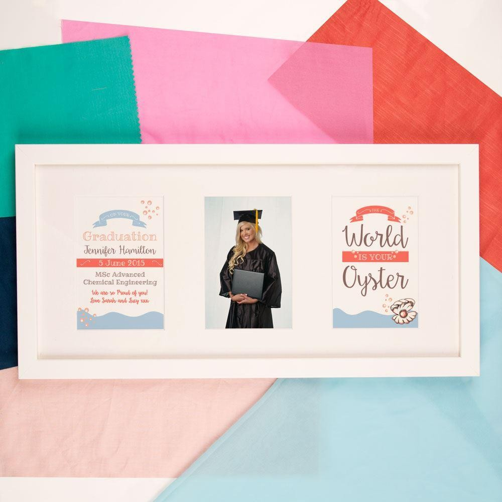 Personalised The World Is Your Oyster Graduation 3 Aperture Frame