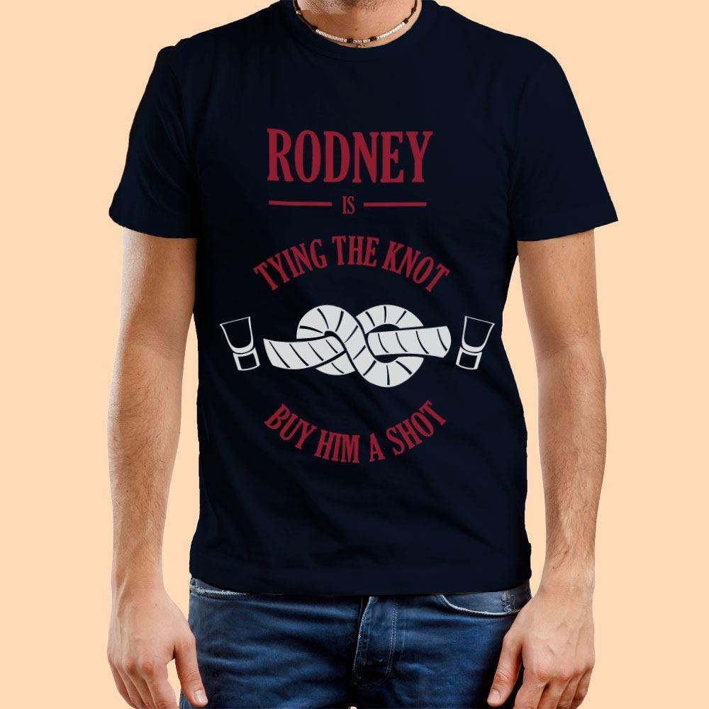 Tying the Knot, Buy Him a Shot: Customised Mens Navy T-Shirt