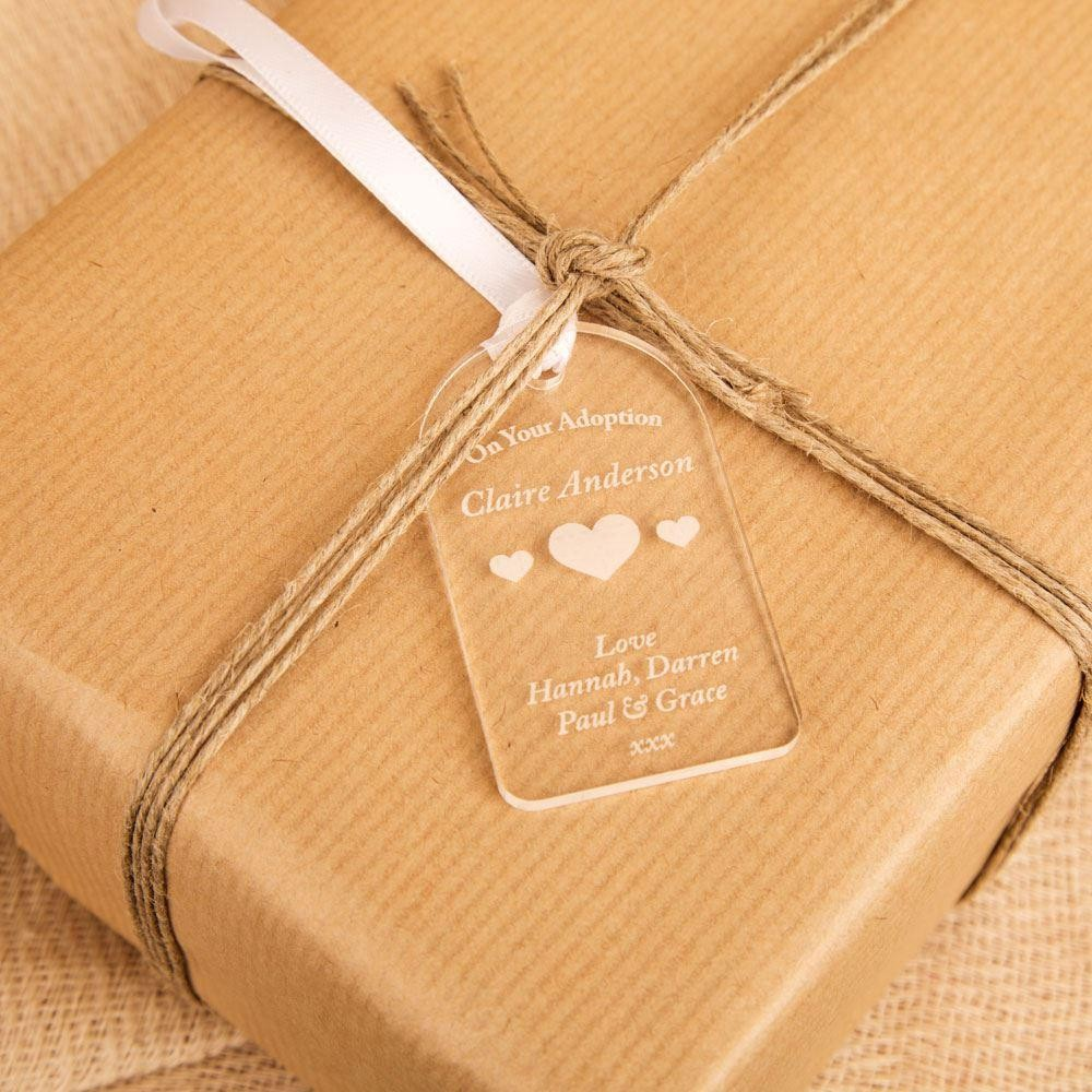 Personalised Baby Gift Tags Uk : Personalised adoption gift tag with hearts forever bespoke