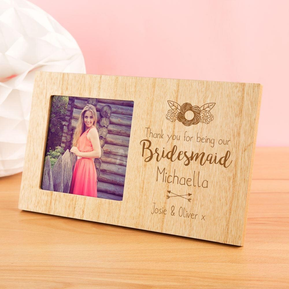 Personalised Bridesmaid Wooden Photo Frame