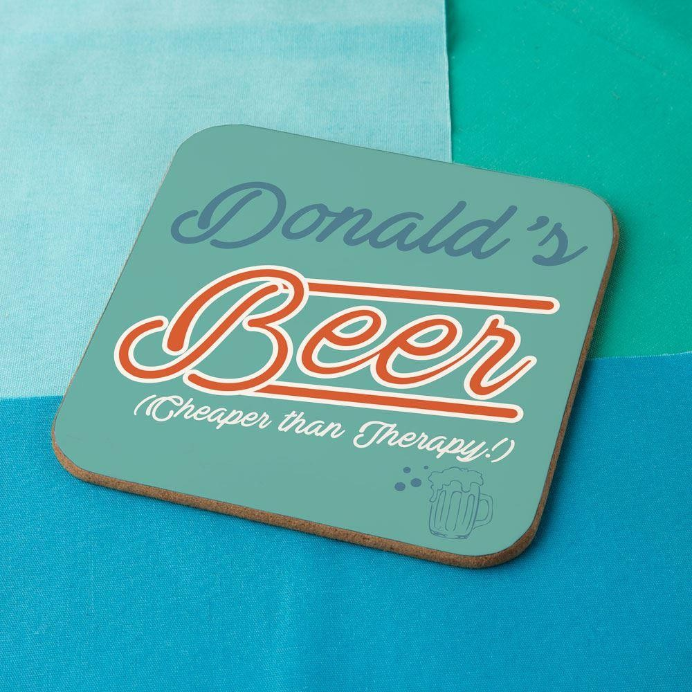 Retro Cheaper than Therapy Beer Coaster