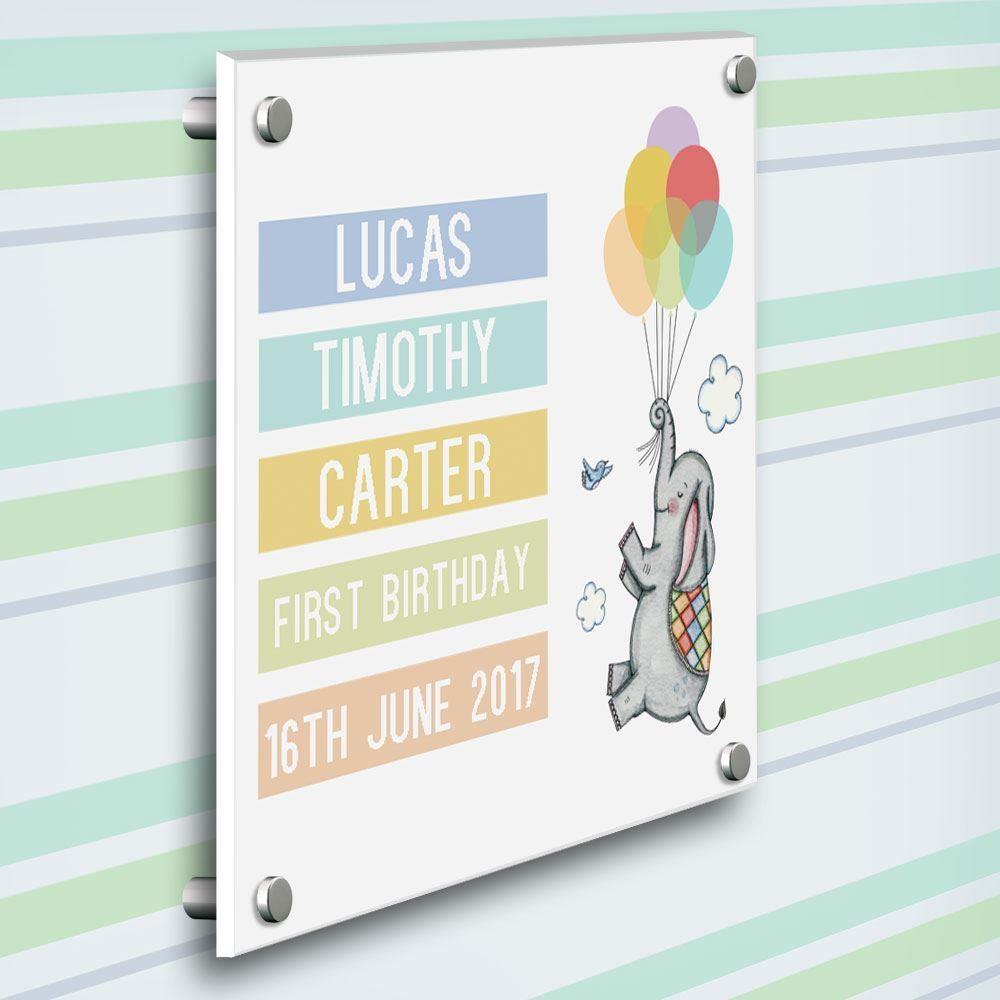 First Birthday Bespoke Elephant Gallery Print for a Boy
