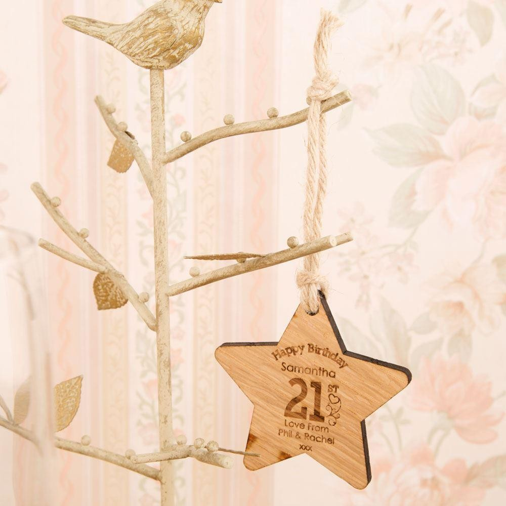 Personalised 21st Birthday Wooden Star
