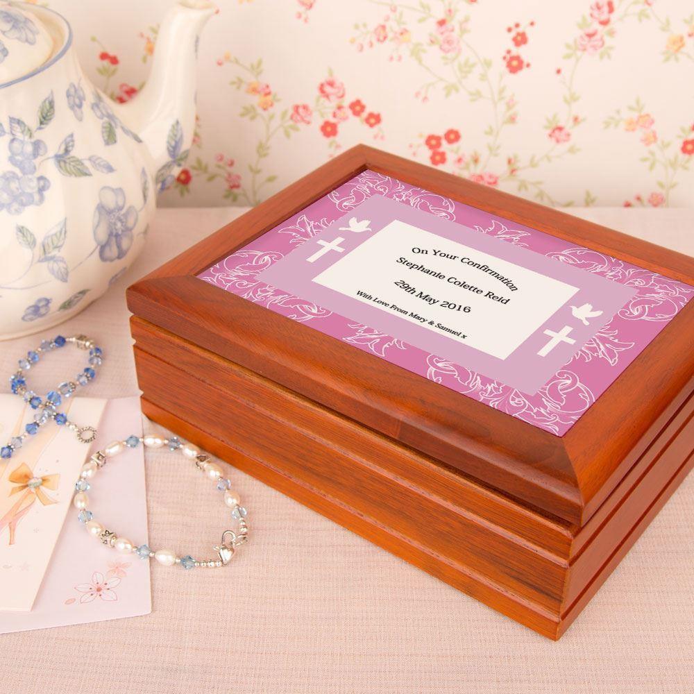 Confirmation Jewellery box: Pink Border