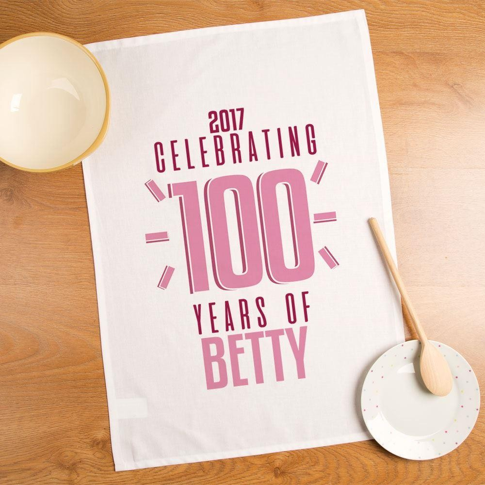 Personalised 100th Birthday Printed Tea Towel