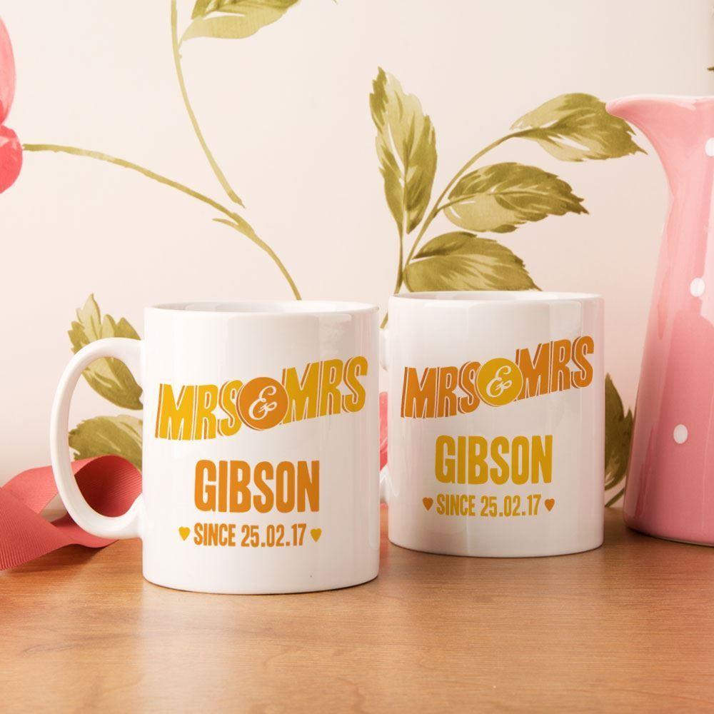 Personalised Mrs & Mrs Couples Mug Set