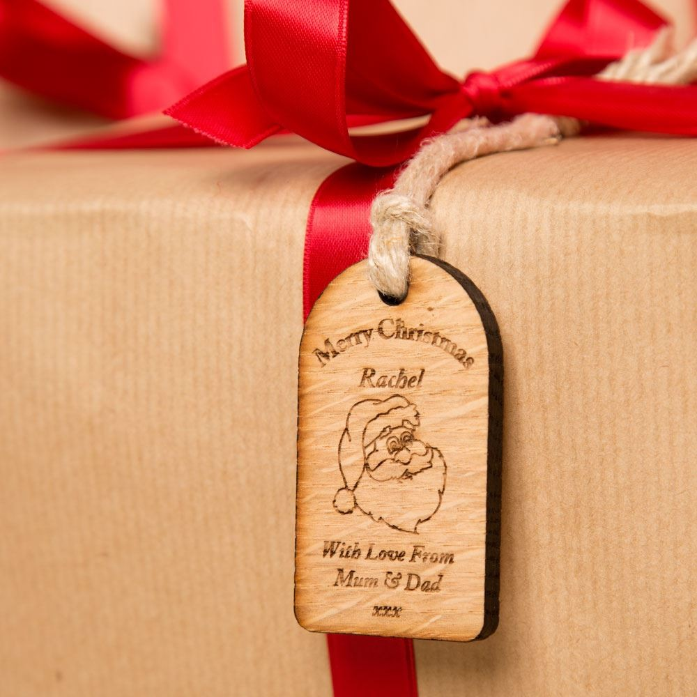 Personalised Baby Gift Tags Uk : Wooden santa christmas gift tag forever bespoke