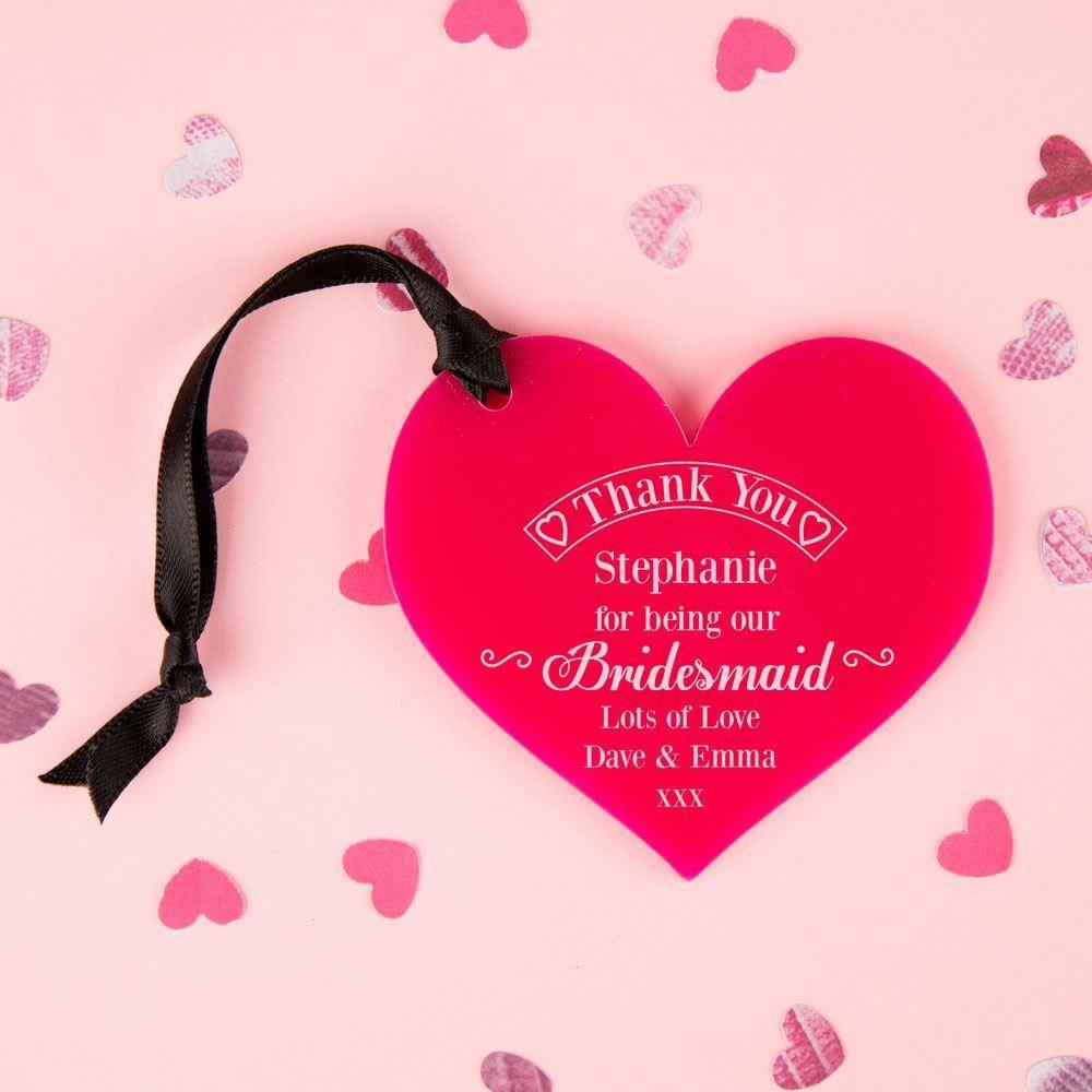 Bridesmaid Thank You Keepsake Acrylic Heart