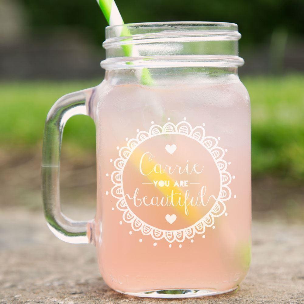Bespoke Beautiful Glass Mason Jar
