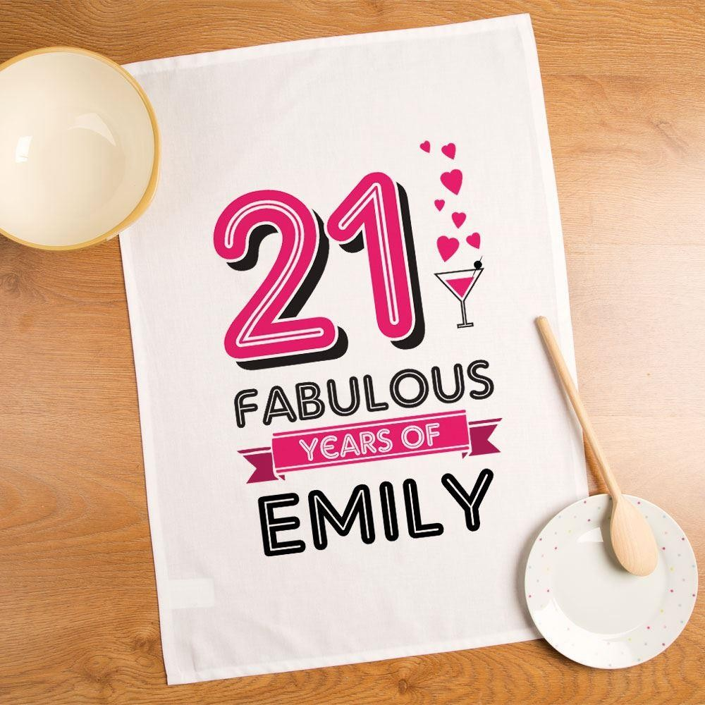 21 Fabulous Years Personalised Printed Tea Towel