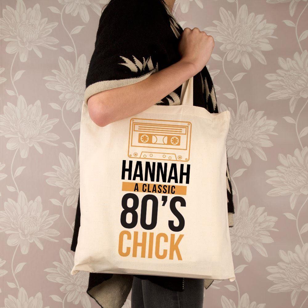 Personalised 80s Chick Shoulder Bag