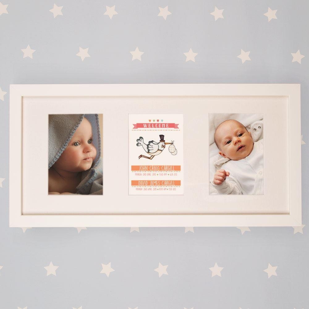 Personalised Twin Baby Stork Landscape Orientation 3 Aperture Frame