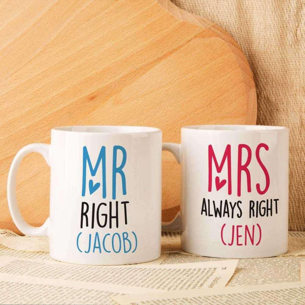 Mr and Mrs (always) Right Personalised Double Mug Set