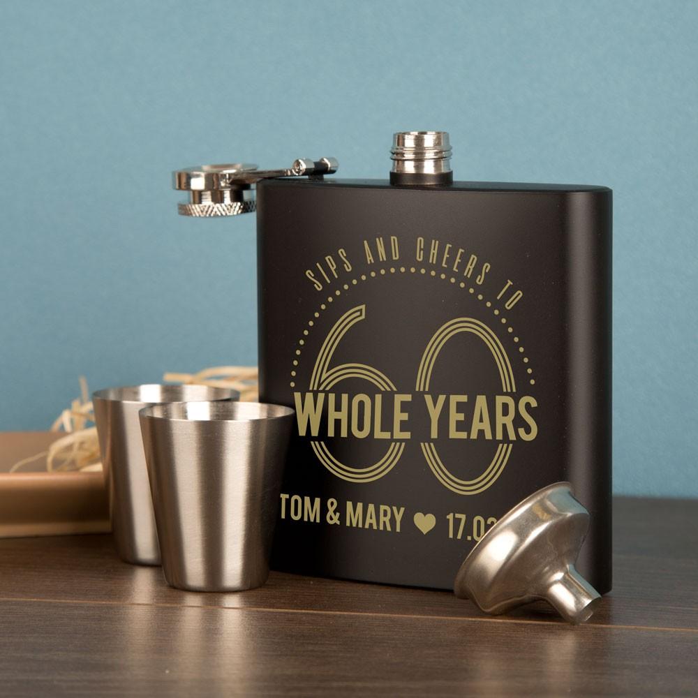 60th Wedding Anniversary Presentation Boxed Hip Flask Gift Set