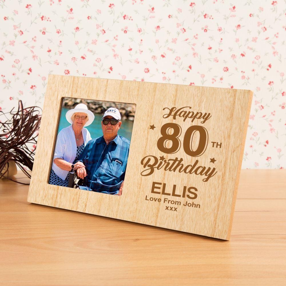 Personalised 80th Birthday Wooden Photo Frame