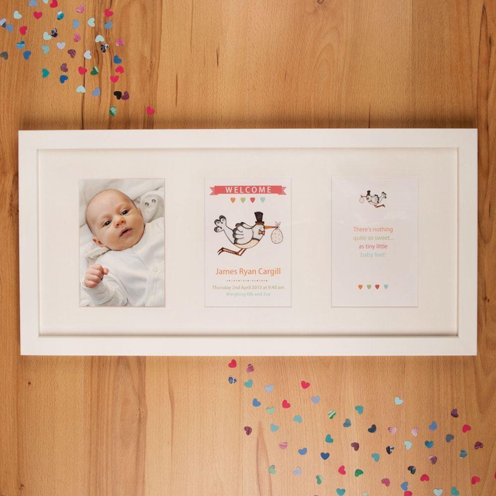 Personalised Baby Stork Landscape Orientation 3 Aperture Frame