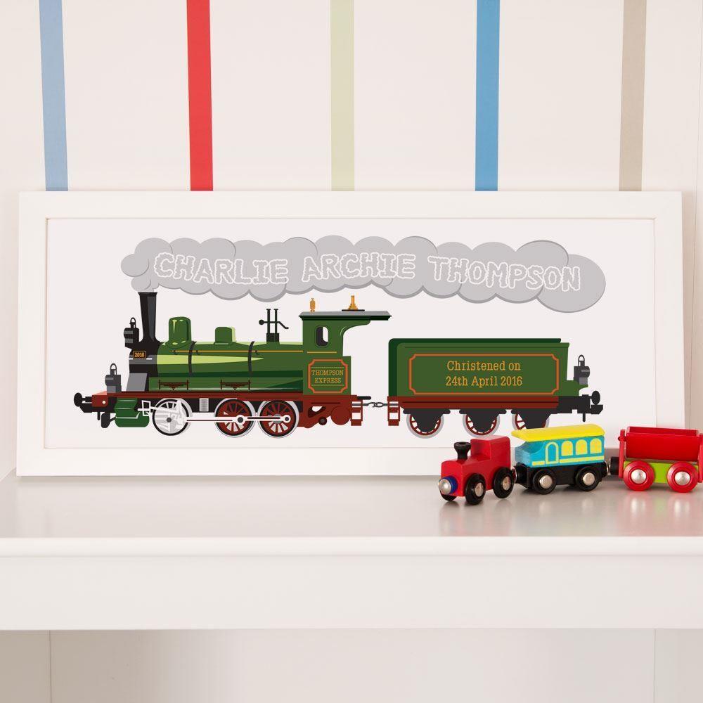 Childrens Steam Train Personalised Christening Print