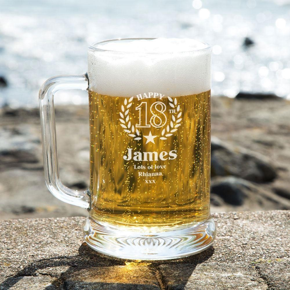 18th Birthday Engraved Glass Pint Tankard Forever Bespoke