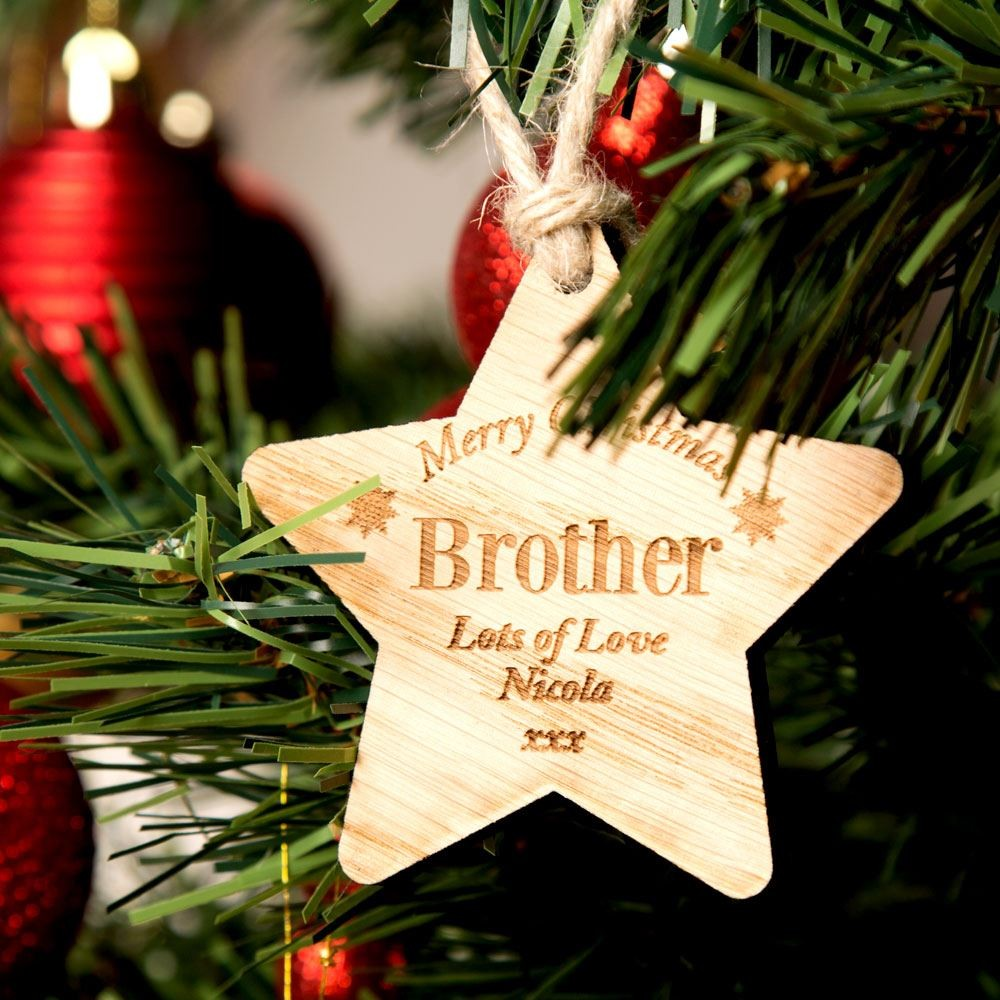 Engraved Brother Wooden Star
