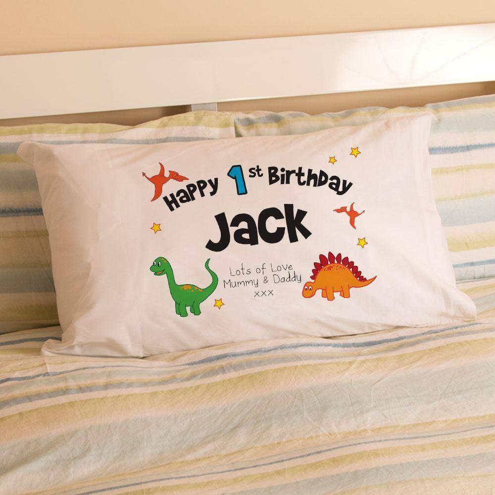 1st Birthday Dinosaur Pillowcase