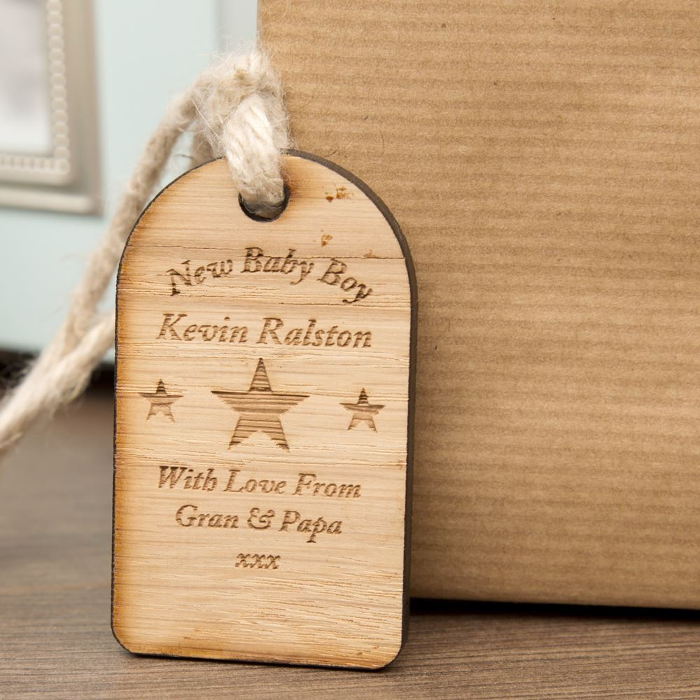 New Baby Boy Wooden Tag
