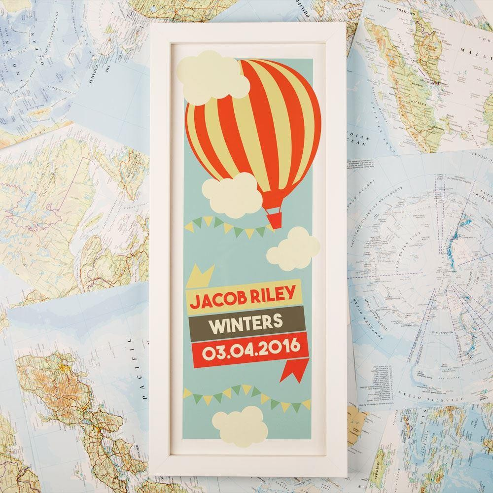 Childrens Hot Air Balloon Personalised Print & Frame