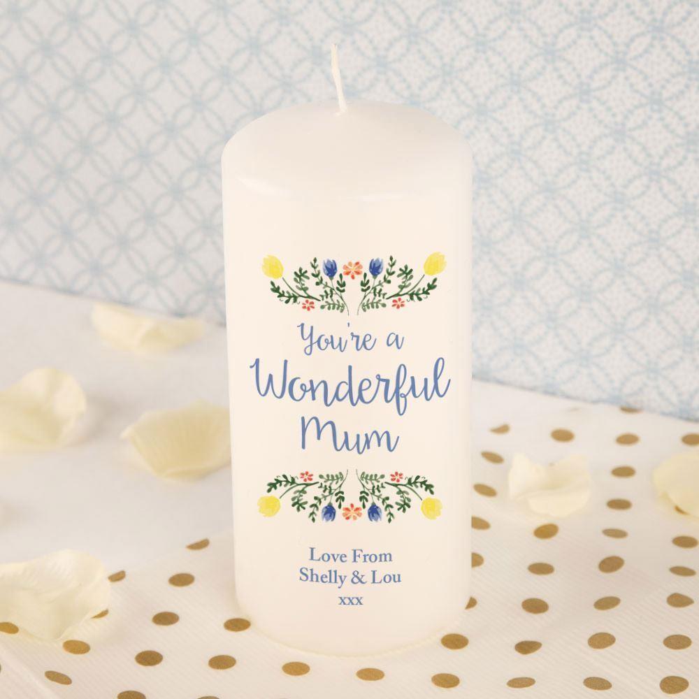 Wonderful Mum Bespoke Pillar Candle