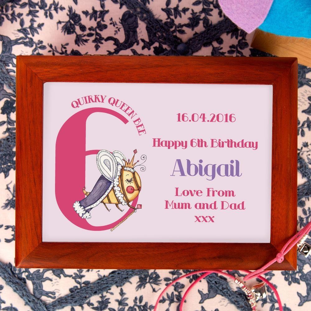 Queen Bee 6th Birthday Customised Musical Jewellery Box