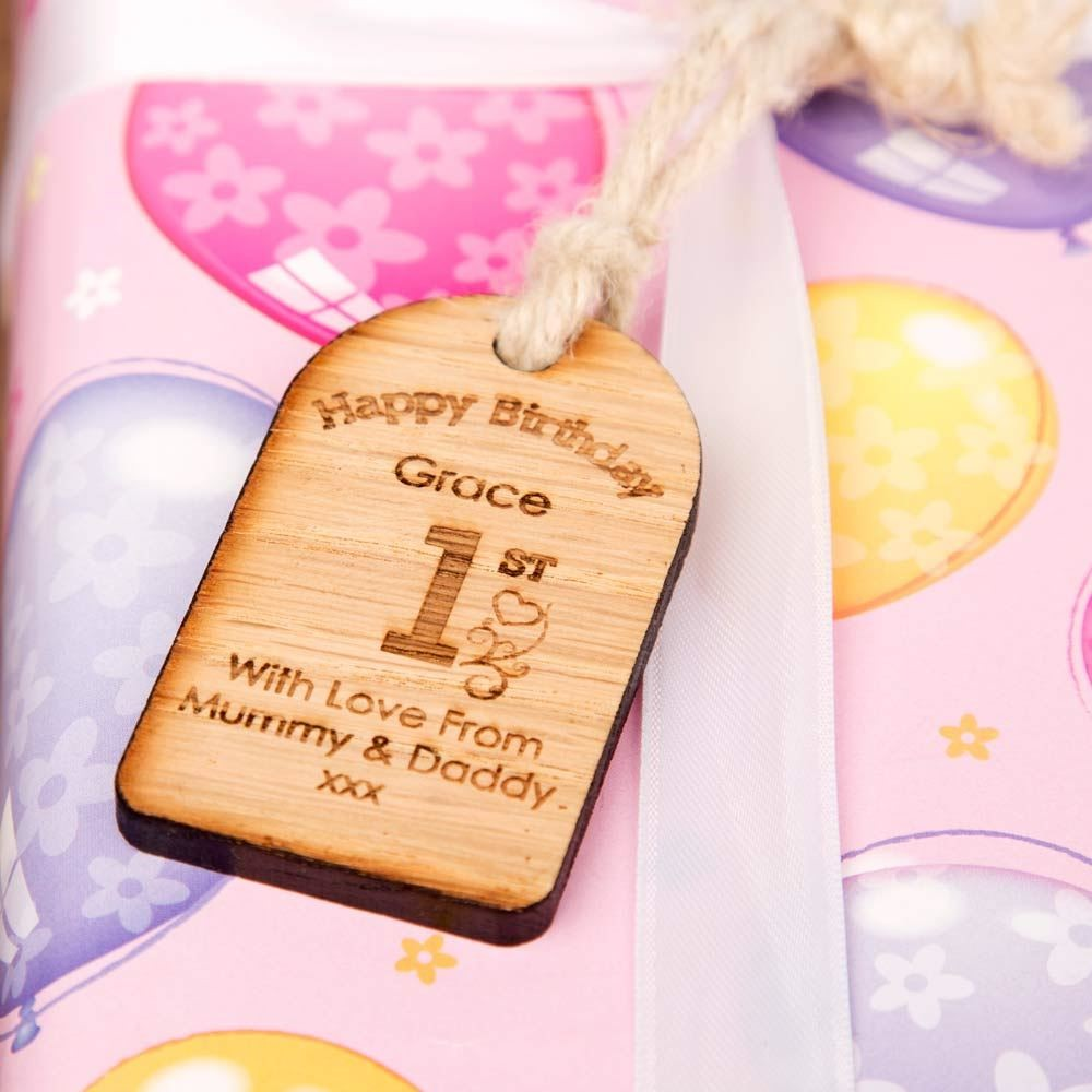 Personalised 1st birthday wooden tag